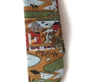 Vintage 60's  Farm and Horses Necktie Tie made by Langson for Jack Lang, Vintage Horse and Cows Farm Tie