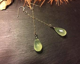 Prehnite Gemstone Drop Earrings