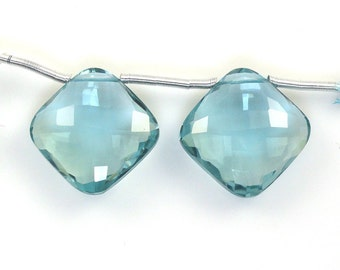 Hydro Aquamarine Cushion Shape Drops 16x16mm Drilled Beads Matching Pair Approximately 28.00 Carat (11661)