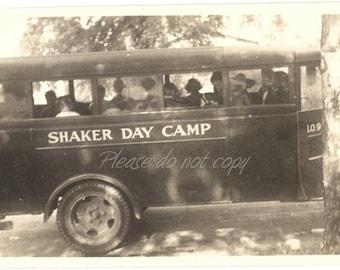 Vintage Snapshot Photo ~ Shaker Day Camp bus