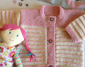 Child's garter stitch trim cardy knitting pattern ty0502