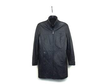 Minimal Black Leather Zip Coat / Black / S M / Vintage