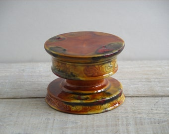 Vintage Ceramic Candleholder / Plant Stand ~ Pottery Candle Holder ~ Small Planter Pedestal (B12)