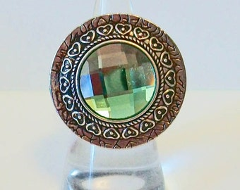 Extra Large Round Bright Green Sparkle Silver Fashion Ring Adjustable Band