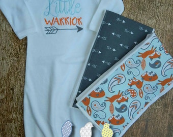 Infant Gown and Burp Cloth set - Little Warrior