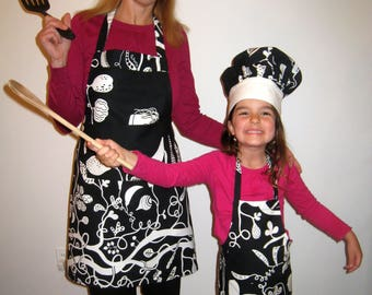 Matching mother/daughter Aprons and Childs Chef Hat