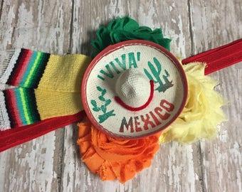 Cinco de Mayo, Fiesta Hair Clip, Sombrero Headband, Fiesta Theme Birthday, Infant, Toddler