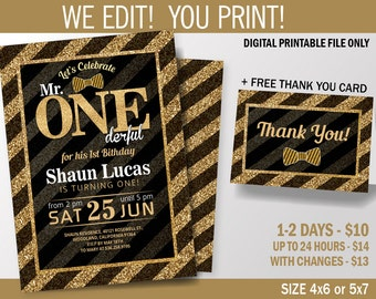 Mr. One-derful Birthday Party Invitation, Black and Gold First Birthday Party, Gliters, Printable Invitation