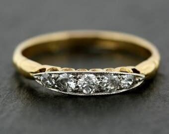 Antique Diamond Ring - Edwardian Anniversary Ring - Five-Stone Diamond Ring