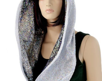 Reversible Infinity Festival Hood in Holographic Silver on White Shattered Glass & Silver on Black Shattered Glass - 154318