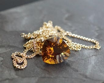 Cognac citrine faceted necklace, faceted citrine jewelry gift, 14k gold fill chain necklace, citrine necklace, brown gemstone necklace