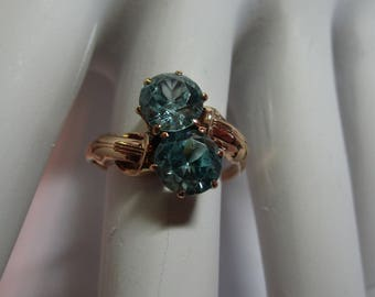ON HOLD_Ladies 10kt rose gold genuine vintage blue zircon by pass ring