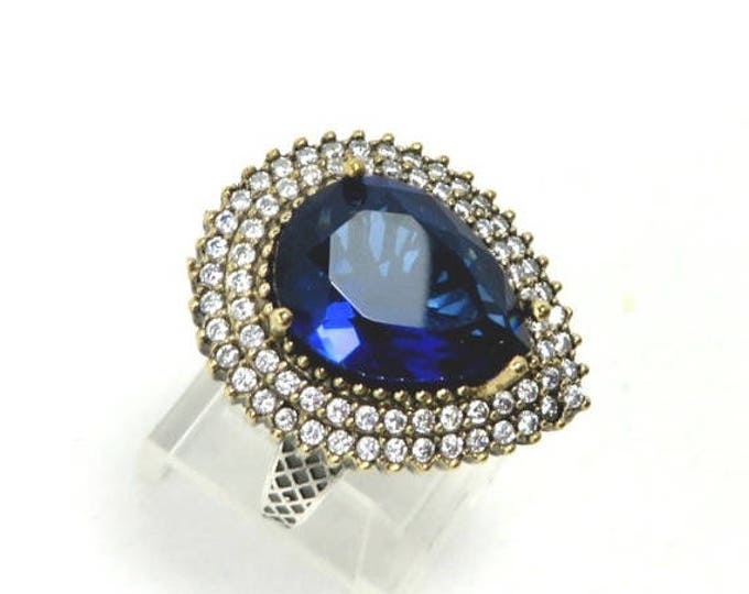 ON SALE! Sterling Silver Sapphire & Topaz Ring, Vintage Two Tone Silver Ring, Size 9