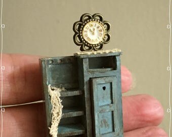 1/48 Dollshouse miniature kitchen cabinet with clock bench, hand made in wood by Bea