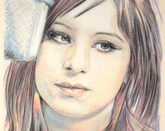 Original hand drawn portrait of Barbra Streisand, in charcoal and pastel on calico