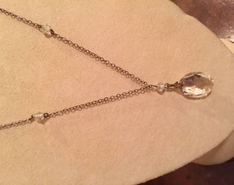 Vintage Chain and Crystal Necklace