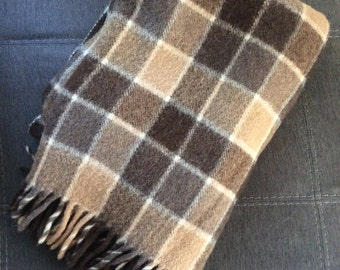 Brown and tan plaid blanket