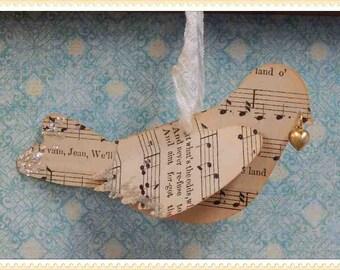 bird ornament, vintage sheet music, paper, die cut, 3-D