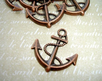 6 Antique Copper Anchor Charms