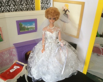 Amazing Blonde bubble Cut Barbie In Wedding Day