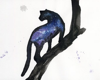 ORIGINAL Watercolour Painting - Purple Galaxy Panther.