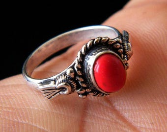 Red Coral Ring, Brass Ring, Silver Plated Ring, Silver Brass Ring, Gift For Her, Women Jewelry, Statement Ring, Ring size-6.25 SH-2529(A)