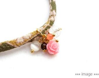 Pink Rose and Quartz Charm for Kimono Bracelets,  Clear quartz, cherry quartz, plastic rose, glass beads