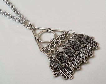 Necklace with hamsa charms