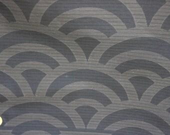 Black Obi fabric /wave/ Summer obi fabric/  Vintage Japanese silk fabric