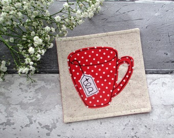 Fabric Drink Coaster, Gift For A Tea Lover, Polka Dot Decoration, Mug Coaster, Red Coaster, Office Gift, Gift For Her, Small Gift