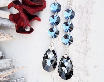 Long Swarovski Earrings-Swarovski Jewellery-Silver Night Swarovski-Crystal Earrings-Grey Blue Earrings-Bridesmaids Earrings-Silver Earrings