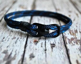 Blue paracord and black  hook mens paracord bracelet   paracord anchor bracelet   nautical bracelet    hook wristband   haken armband