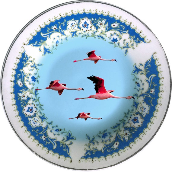 Flying Flamingos - Vintage Porcelain Plate - #0416