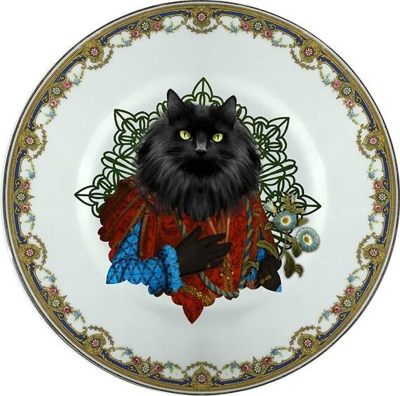 Norwegian Lord  - Norwegian forest cat - Vintage Porcelain Plate - #0347