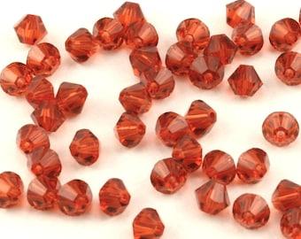 4MM Swarovski Indian Red Bicone Crystals - Swarovski Crystal Bicones - 48 Pcs