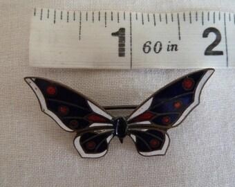 Edwardian enamel butterfly brooch. Antique brooch. Vintage brooch. Edwardian jewellery. Blue butterfly brooch. Metal brooch.
