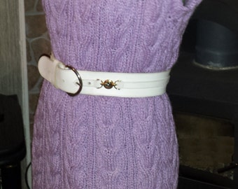 DISCOUNTS! Knit Vest, Knit Tunic, Knit Jumper, Cable Knit Vest Tunic, Lilac Vest, Cable Vest, Cable Tunic, Was 159USD, Now 109 USD