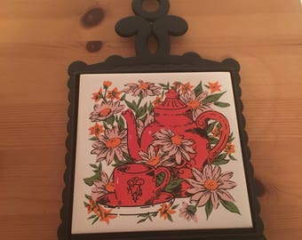 Vintage Kitchen Ceramic Trivet Cast Iron Hot Plate Trivet Tile Orange Teapot Daisies