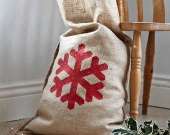 Hessian Christmas Sacks with Glitter Snowflakes