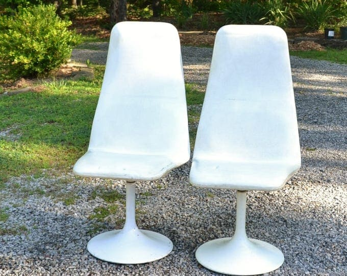Vintage Borge Johanson Viggen Chair Set of 2 White Vinyl Metal Swivel Base 1960s Mod Modern Furniture Sweden PanchosPorch