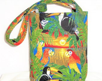 Parrot Knitting Bag, Stand Alone Tote Bag, Quilted Tote Bag, Quilted Handbag, Carry All Bag, Quilted Purse, Quilted Bags, Sewnsewsister