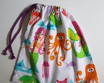 Drawstring book bag - MERMAIDS, mythical travel, storage, eco friendly cotton gift bag