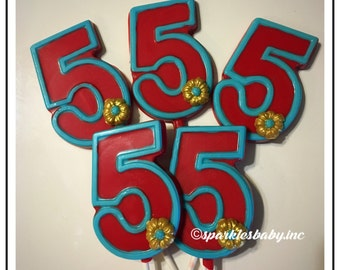Elena of Avalor themed chocolate number lollipops, number 1, number 2 , number 3, 4, 5,6,7,8,9