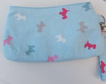 Scottie Dog Design Clutch, Blue, Wristlet, Purse, Handmade, Gift for Her