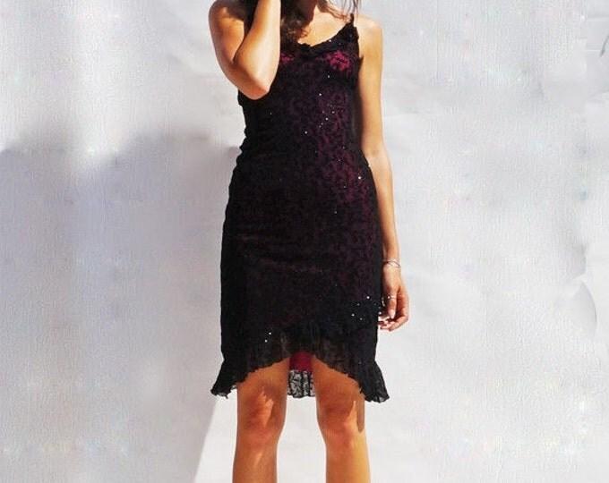 Little Black Dress, Vintage 90s Black Knee Length Dress, Party Dress, 1990s Dress, Vintage Evening Dress, Prom Dress, Black Party Dress