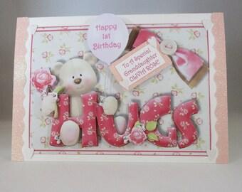 Girls First Birthday Card, cute teddy,handmade,granddaughter,3D,Personalise