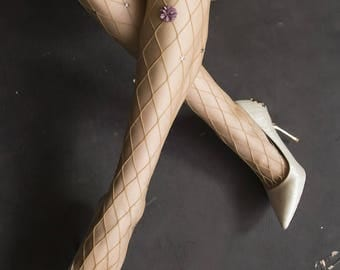 Fishnet socks fishnet stockings, flowers,hand-embroidered, crystal, pearls, lace and women's fishnet toe stockings