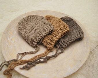 Newborn Hat, Knit Newborn Bonnet, Baby Bonnet, Neutral Color, Newborn Photo Prop, Baby Hat, Wool Bonnet, Knitted Hat, Newborn Props