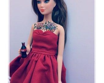"Ooak barbie doll ""tattoed girl cocacola girl"""