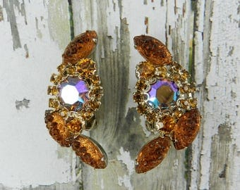 Vintage Rhinestone Earrings Root Beer Amber Topaz Bumpy Top Molded Glass Navettes Topaz AB Gold Tone Finish